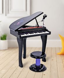 Electronic Piano Toy With Microphone & Stool - Black