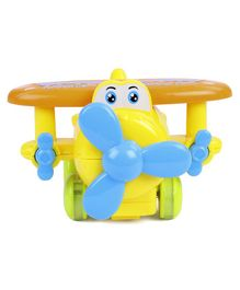 Friction Cartoon Toy Plane - Yellow Blue