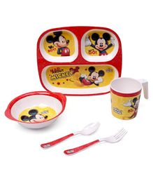 Disney Mickey Mouse And Friends Print Feeding Set of 5 - Red & Yellow