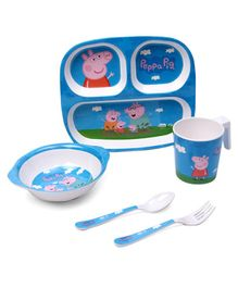 Peppa Pig Print Feeding Set Pack of 5 - Blue