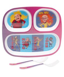Servewell Feeding set Motu Patlu Theme Pack of 3 - Purple
