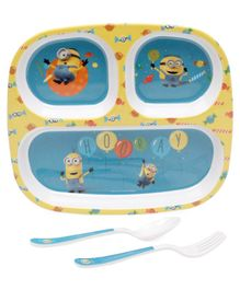 Servewell Minions Theme 3 Section Plate with Fork & Spoon Set - Blue
