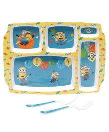 Minions Theme Servewell 5 Parts Plate With Fork and Spoon - Blue