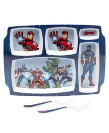 Servewell Avengers Theme 5 Sections Plate with Fork & Spoon - Blue (Print May Vary)