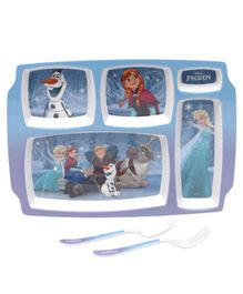 Servewell Disney Frozen Theme 5 Sections Plate with Fork & Spoon - Blue