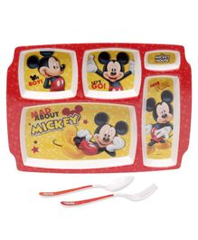Servewell Mickey Mouse Theme 5 Sections Plate with Fork & Spoon - Red