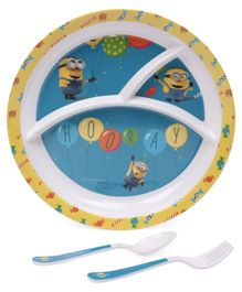 Minions Print Kids Feeding Set of 3 - Blue