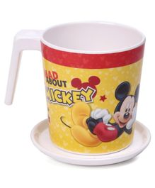 Servewell Mickey Mouse Print Mug and Luna Coaster Set - Yellow