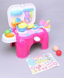 Kids Kitchen Set With Light & Sound - Pink