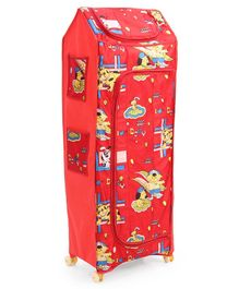 Kids Zone 5 Shelves Folding Almirah Dogy Print - Red