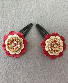 Kalacaree Organic Flower Theme 1 Pair Of Hair Clips - Red Gold & White