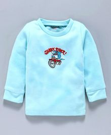 Cucumber Full Sleeves Winter Wear Thermal Top Shark Rider Print - Sea Green