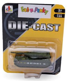 Die Cast Free Wheel Army Tank Toy - Green
