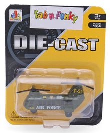 Die Cast Free Wheel Army Helicopter Toy Scale 1:64 - Green