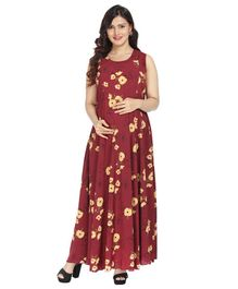 Morph Floral Print Sleeveless Maternity Dress - Maroon