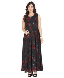Morph Floral Print Sleeveless Maternity Dress - Black