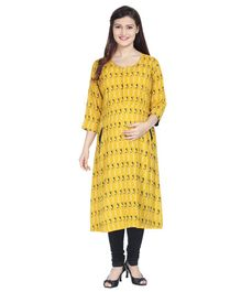 Morph All Over Printed Three Fourth Sleeves Maternity Kurti - Yellow