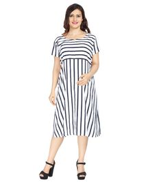 Morph Striped Half Sleeves Maternity Dress - Blue & White