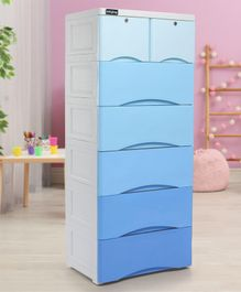 Babyhug 7 Compartment Chest of Drawers with Wheels - Blue & White