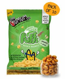 The Mumum Co  Protein Puffs, Masala Madness Pack of 10 - 200 gm