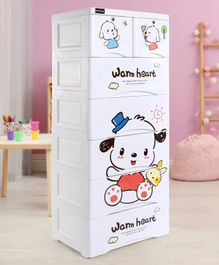 Babyhug 7 Compartment of Drawers Teddy Print - White