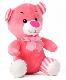 Dimpy Stuff Teddy Bear With Bow Pink - Height 20 cm