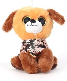 Dimpy Stuff Puppy Sequin Soft Toy Brown - Height 17 cm