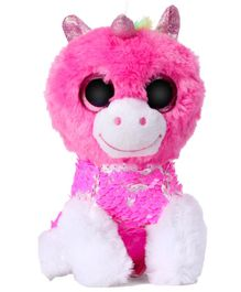 Dimpy Stuff Unicorn Sequin Soft Toy Pink - Height 17 cm