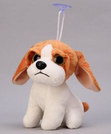 Dimpy Stuff Puppy Hanging Soft Toy White Brown - Height 15 cm