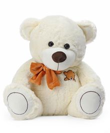 Dimpy Stuff Teddy Bear With Bow Cream - Height 40 cm
