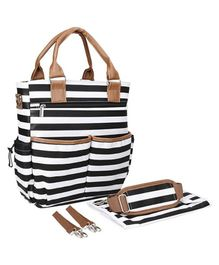 Bagsfinitee Tote Classic Stripes Diaper Bag With Changing Pad and Stroller Hooks - Black & White