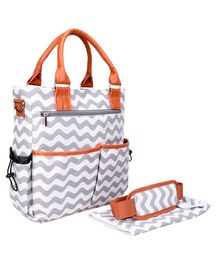 Bagsfinitee Tote Chevron Diaper Bag With Changing Pad & Stroller Hooks - Grey