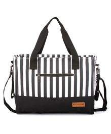 Bagsfinitee Messenger Diaper Bag With Changing Pad - Black White