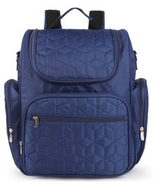 Bagsfinitee Premium Quilted Diaper Bag With Changing Mat & Bottle Cover - Blue