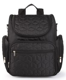 Bagsfinitee Premium Quilted Diaper Bag With Changing Mat & Bottle Cover - Black