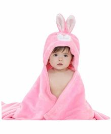 ZOE Hooded 2 In 1 Baby Blanket Cum Wrapper Bunny Design - Pink