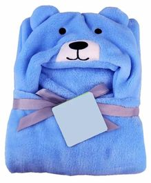 ZOE Hooded 2 In 1 Baby Blanket Cum Wrapper Bear Design - Blue