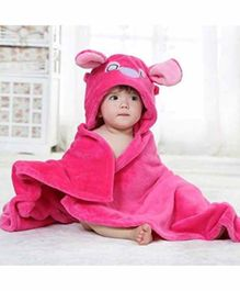 ZOE Hooded 2 In 1 Baby Blanket Cum Wrapper Animal Design - Pink