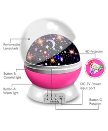 Skylofts Star Light Rotating Projector Lamp With Colors and 360 Degree Moon - Pink