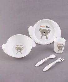 Babyhug 5 Piece Feeding set Bear Print- White