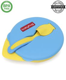 Babyhug Suction Bowl with Spoon - Yellow Blue