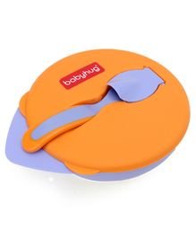 Babyhug Suction Bowl with Spoon - Purple Orange