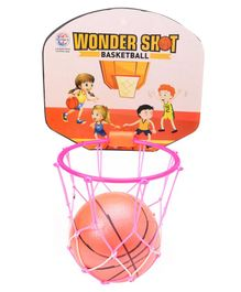 Ratnas Wonder Shot Basketball With Net Hoop - Orange Pink