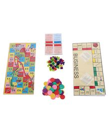 Ajanta Combo Game Set Of Business Ludo & Snake - Multicolour