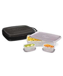 Milton Flat Lunch Pack With 3 Microwave Safe Plastic Containers Black - 1000 Ml