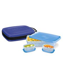 Milton Flat Lunch Pack With 3 Microwave Safe Plastic Containers Blue - 1000 Ml