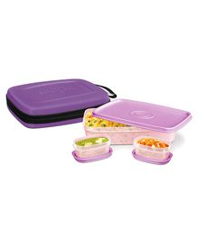 Milton Flat Lunch Pack With 3 Microwave Safe Plastic Containers Purple - 1000 Ml