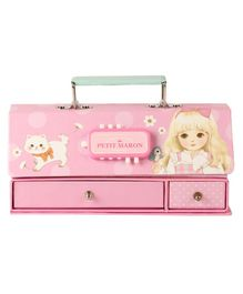 Passion Petals Multipurpose Stationary Box With Lock Code Cat Print - Pink