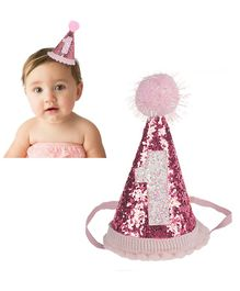 Babymoon Sparkle Princess 1st Birthday Hat with Blush Flowers - Pink