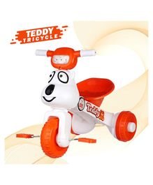 Dash Teddy Face Foldable Tricycle With Music & Light - Orange